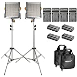 Neewer 2-Pack Bi-color Dimmable 480 LED Video Light and Stand Lighting Kit with 4-Pack Battery and Charger - 3200-5600K,CRI 96+ LED Panel with U Bracket for Camera Photo Studio, YouTube Video Shooting