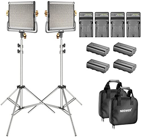 Bi-Color 280 LED Panel CRI 96 Neewer Dimmable Camera Video Light Kit 3200-5600K,2 Pieces Rechargeable Li-ion Battery and USB Charger for DSLR Camera Photo Studio Photography,YouTube Video Shooting