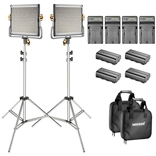- Neewer 2-Pack Bi-color Dimmable 480 LED Video Light and Stand Lighting Kit with 4-Pack Battery and Charger - 3200-5600K,CRI 96+ LED Panel with U Bracket for Camera Photo Studio, YouTube Video Shooting