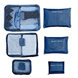 Deluxe Travel Packing Organizer Cubes & Laundry Pouches for Clothes, Gadgets, & Accessories, Set of 6