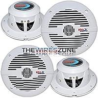 4) NEW BOSS MR60W 6.5 2-Way 400W Marine Boat Audio Coaxial Speakers White