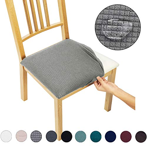 Dining Chair Seat Covers(4 Pack) – Water Repellent,Easy to Install,High Stretch – Dining Room Chair Seat Slipcover/Protector/Shield for Dog Cat Pets,Light Grey