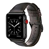 For Apple Watch Band 42mm, OUHENG Retro Vintage Genuine Leather iWatch Strap Replacement for Apple Watch Series 3 Series 2 Series 1, Brownish Black with Black Adapter