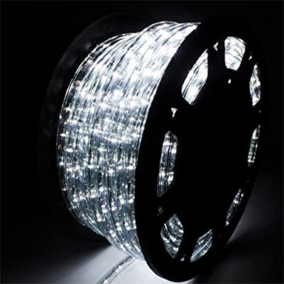 GDY 150FT Led Rope Light Kit,110 V 2-Wire Waterproof String for Strip Lighting for Indoor and Outdoor Background,Yard,Garden,Bridges Decoration(Cold White) ...