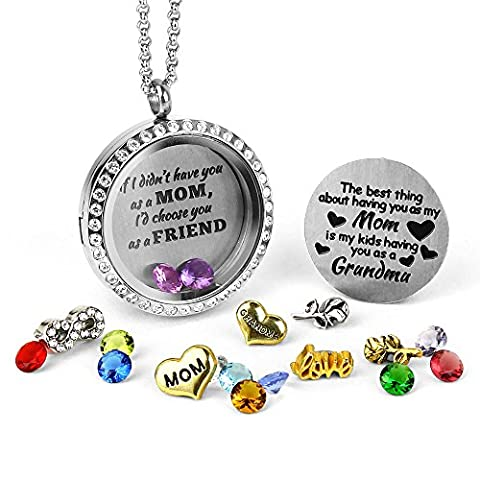 My Grandma Necklace   Floating Locket Necklace with Floatin Charms   Grandmother Gifts Birthstone - Mom Jewelry