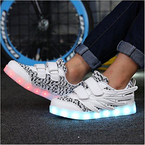 ECOTISH Unisex Kinder Neue LED Leuchten Schuhe 7 Farben, Die Blinkende aufladende Leuchtende Sport-Schuhe mit Flügel-Art-Art und Weiseturnschuhen Ändern (EU 32, Weiß)