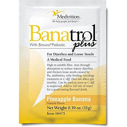 Fast Natural Anti-Diarrhea Medicine Relief Kids, Adults |Banatrol Plus| Banana Flakes and Prebiotic| Pineapple Banana Flavor 75 doses