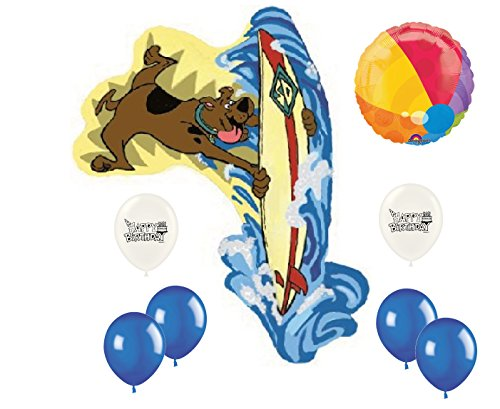 Scooby Doo Surf's Up! Surfboard Beach Ball Happy Birthday Mylar and Latex Balloon Kids Party Supplies and Decorations Set Bundle