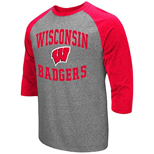 (Colosseum Men's NCAA-Raglan-3/4 Sleeve-Heathered-Baseball T-Shirt-Wisconsin Badgers-XXL)