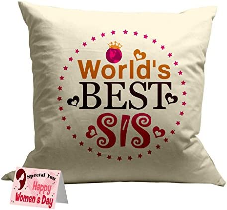 TIED RIBBONS Women s Day Gift for Sister World Best Sis Printed Cushion(12  Inch X 12 Inch) with Filler and Greeting Card b3c09c1b0