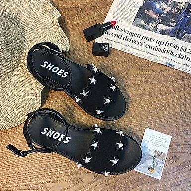 LvYuan Mujer Sandalias Confort Cuero Nobuck Verano Confort Hebilla Tacón Plano Negro Gris Menos de 2'5 cms Black