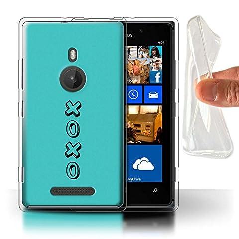 STUFF4 Gel TPU Phone Case / Cover for Nokia Lumia 925 / Blue/Hugs & Kisses Design / Heart XOXO (Nokia Lumia 925 Gel Cases Blue)