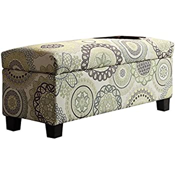 Homelegance 471FA 1S Lift Top Storage Bench, Floral Medallions Fabric