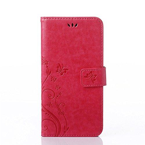 COOLKE Retro Mariposas Patrón PU Leather Wallet With Card Pouch Stand de protección Funda Carcasa Cuero Tapa Case Cover para Microsoft Lumia 650 - Rose Rose