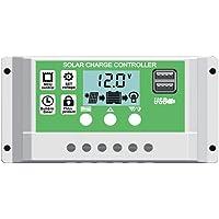 Y&H 10A/20A/30A Panel solar controlador de carga para 12V 24V plomo ácido/batería de litio con doble USB retroiluminación LCD visualización y temporizador de encendido/apagado horas