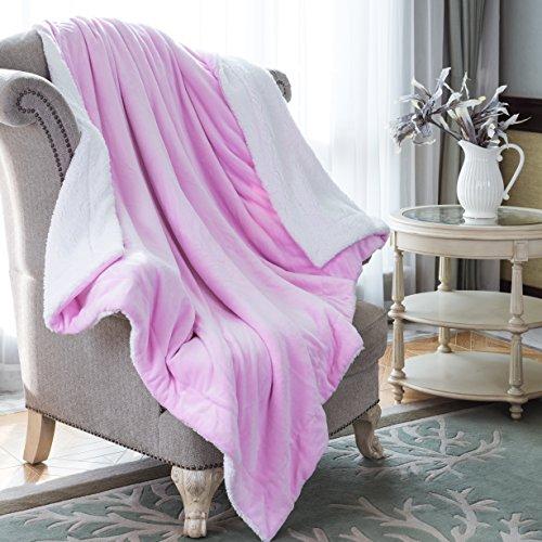 "HoroM Sherpa Throw Blanket Pink 50""x60"" Microfiber Reversibl"