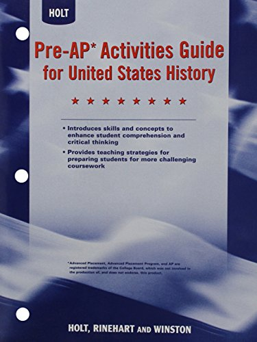 Pre-AP Activities Guide for United States History, Grades 6-8 -  RINEHART AND WINSTON HOLT, Student, Paperback