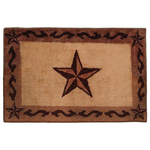- Chocolate Scrolls & Stars Bath Western Rug - Rustic Decor