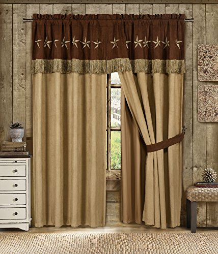 Chezmoi Collection 4 Pieces Western Star Embroidery Design Microsuede Window Curtain/Drape Set Sheer Backing,Tassels, Valance (Curtain Set, Brown/Coffee) (Bed Valance)