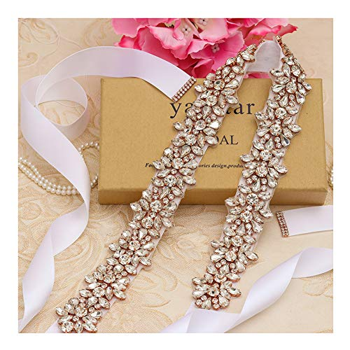 Yanstar Handmade Beads Wedding Belt Sashes Bridal Belt Sash with Rhinestones