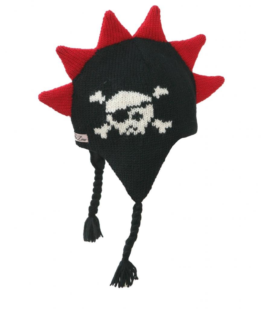 Born To Love Boy's Mohawk Hat With Spikes And Skull-Black-L