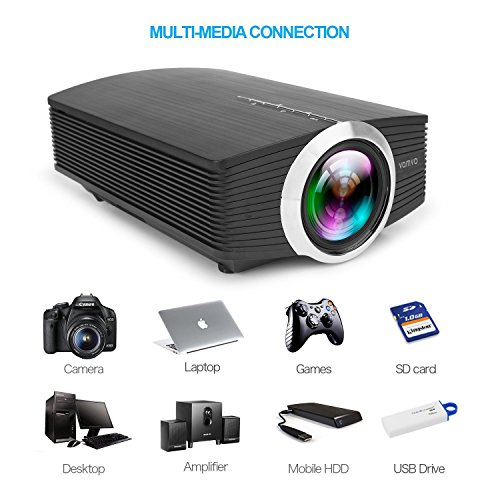Vamvo LED Projector 1080P 1200 Lumens Portable for Indoor Outdoor, A mini Home Theater Movie Projector Support Laptop/Smartphone/iPad/TV by HDMI/VGA/SD/USB/AV Input Photo #5