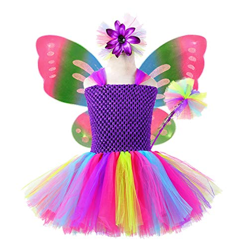 Tutu Dreams Fairy Outfit for Little Girls Easter Birthday Party (S) Purple -