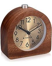 Navaris Trä analog väckarklocka – halvrund batteridriven tickar ej klocka med snooze-knapp och ljus – mörkbrun