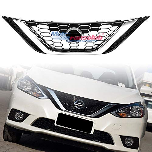 MotorFansClub Front Grill for Nissan Altima 2016 2017 2018 Chrome Bumper Center Mesh Grill Grid Grille