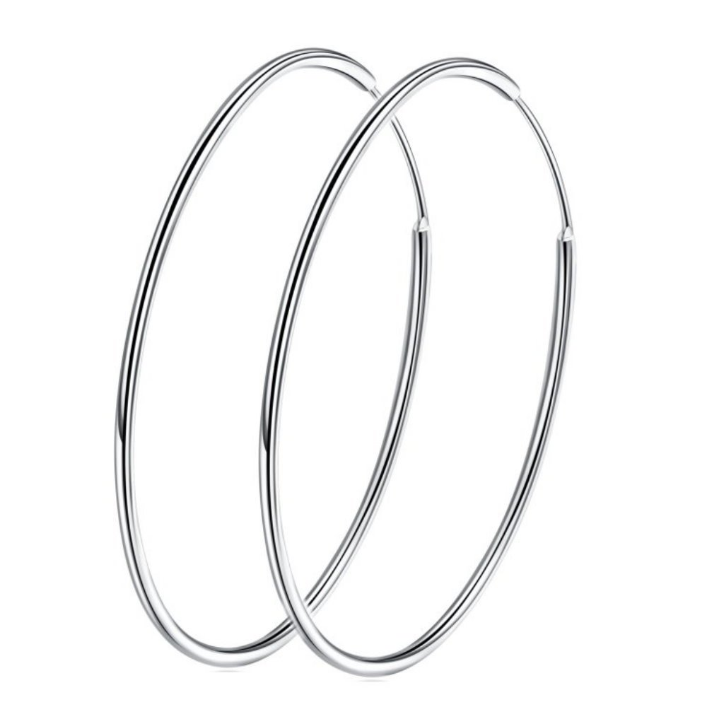 Large Hoop Earrings Sterling Silver 925 Circle Endless Basketball Earring 40/50/60mm for Women Girls (70mm)