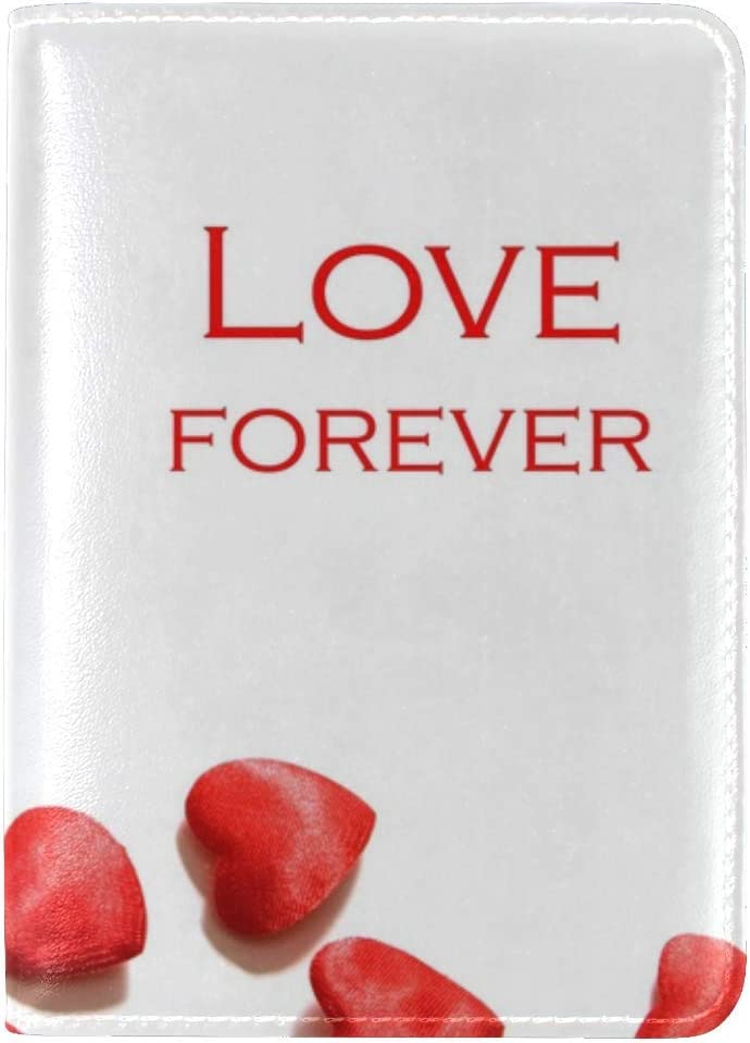 JiaoL Love Heart Red Always Leather Passport Holder Cover Case Travel One Pocket