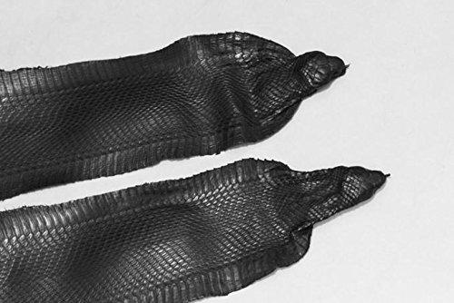 Snake Skin Asia Spitting Cobra Snakeskin with Head Hide Leather Black