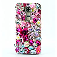 ZTE Grand X MAX 2 Case, ZTE Zmax Pro Case, STENES 3D Handmade Luxury Crystal Snow Flowers Heart LOVE Sparkle Rhinestone Design Cover Bling Case with Retro Bows Dust Plug - Hot Pink