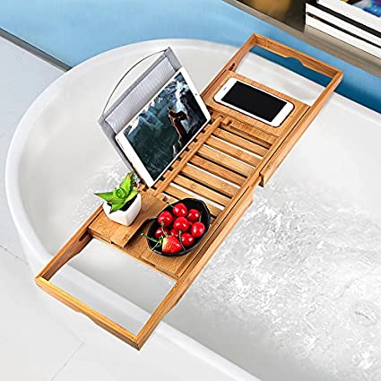 Bathtub Tray Oobest Bamboo Bathtub Caddy Tray With Extending Sides  Adjustable Book Holder With Premium Luxury