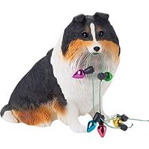 Sandicast Tri Shetland Sheepdog Holding Holiday Lights Christmas Ornament