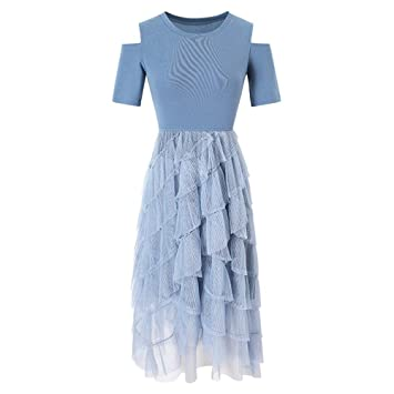 f9d61e464 IYSI Tunique Féminine Col Rond Robe D'été Dames Slim Dress Robe De ...