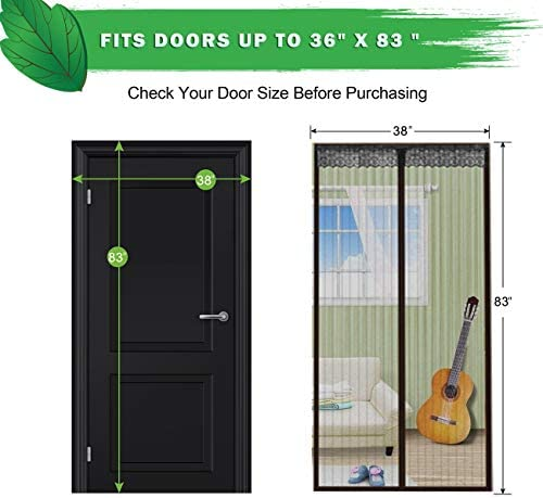 "Magnetic Screen Door Full Frame Magnetic Door Screen with Heavy Duty Mesh Curtain Pet Friendly Bugs Out Screen Door Insect Out Screen Door Mosquito Magnetic Door Screen Door Net (FITS 36"" Door)"