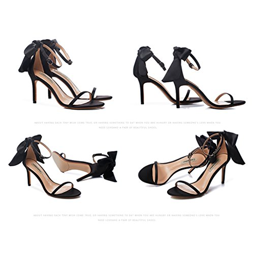 student Color bows Champagne with casual sexy black 8 fine 5cm shoes 36 Size Women heels high sandals shoes U71xYngqOw