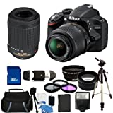 Nikon D3200 Digital SLR Camera With AF-S DX NIKKOR 18-55mm and 55-200mm Lenses. Also Includes: Wide Angle and Telephoto Lenses, 3 Piece Filter Kit (UV-CPL-FLD), 32GB Memory Card, Extened Life Replacement Battery, Tripod and More! – Sunset Electronics Bundle, Best Gadgets