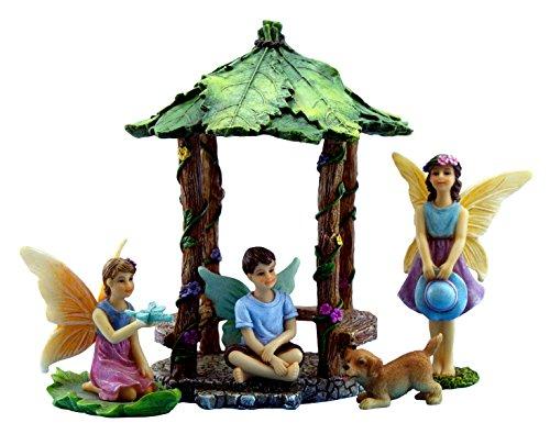 Pretmanns Fairy Garden Fairies – Miniature Accessories – Fairy Figurines with Boy Fairy & Dog – Gazebo Fairy Garden Kit – 5 pieces – Fairy Garden Supplies