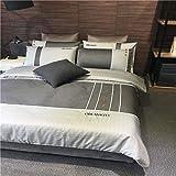 FEFEFEF Flannelette Duvet Cover Set Double Bed 4 Pieces 100% Long-Staple Cotton Plain Blue Bedding Set Luxury Egyptian Cotton Bedding Set with Sheets,C,King