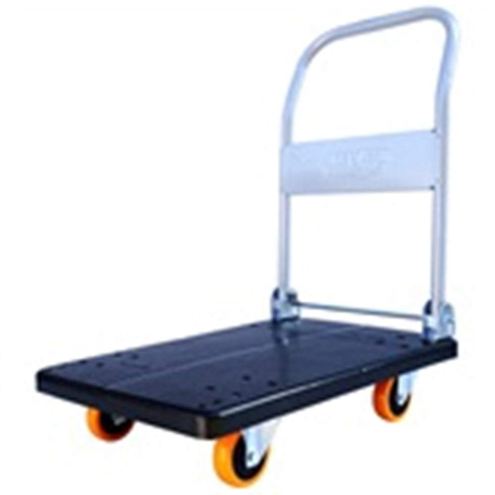 JIANPING Trolley Household Folding Portable Mute Trolley Car Shopping Cart Luggage Cart Truck Trailer 4 Wheel Can Bear Weight 150kg72x46cm Shopping Trolley (Color : A)