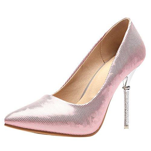 Carolbar Women's Fashion Sexy Pointed Toe High Heel Evening Shoes Pink