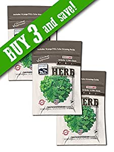 Culinary Herb Seed Collection (3 Pack), 10 Variety, 100% NON GMO Heirloom Basil, Chives, Cilantro, Dill, Lavender, Oregano, Parsley, Rosemary, Sage, and Thyme Herb Seeds