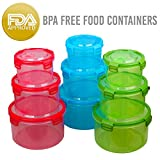 Food Storage Containers Set | 18 Piece | Plastic Air Tight Sealed Lunch Boxes With Lids | Microwave-Dishwasher-Freezer Safe | BPA Free FDA Certified | Reusable Leakproof | 3 Colors CIRCLE | By Amazix