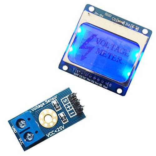 DC0-25V Standard Voltage Meter 84x48 5110LCD Display Sensor Kit 4 Arduino Nokia from Aigh Auality shop
