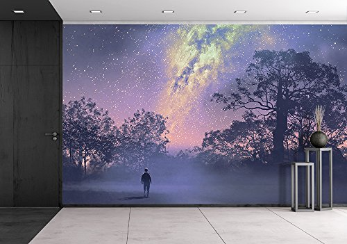 Illustration Man Standing Against the Milky Way above Silhouetted Trees Night Sky Scenery Illustration
