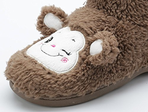 Cattior Mujeres Cute Warm Slipper Zapatos Fluffy Slippers Marrón