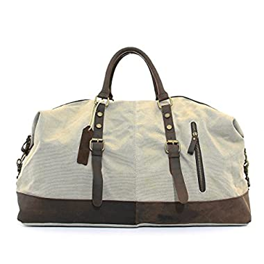 CLELO B305 Casual Canvas Weekend Travel Duffel Bag Beige