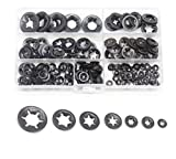 cSeao 330pcs Black Starlock Internal Tooth Lock Washers Assortment Kit, Push on Washers, M3/M4/M5/M6/M8/M10/M12